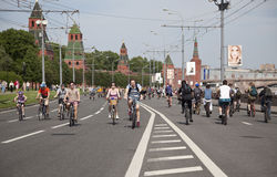 The first great Bicycle ride in Moscow Royalty Free Stock Photos