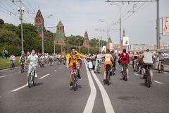 The first great Bicycle ride in Moscow Stock Image
