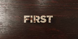 First - grungy wooden headline on Maple  - 3D rendered royalty free stock image Stock Image