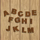 First half Grunge Wooden Alphabet. First half Grunge colored Wooden Alphabet, vector set with all Letters, ready for your Text Message, Title or Logos Design Stock Photography