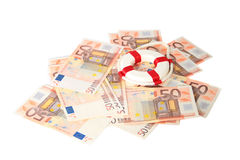 First help in business. Life preserver for first help. Euro money on background royalty free stock images