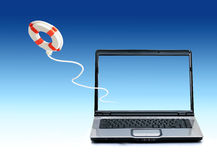 First help concept. Laptop and life preserver over sky. First help concept Royalty Free Stock Photo