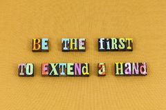 First help hand kindness charity typography. First help hand kindness charity letterpress typography extend helping loving love kind volunteer teamwork donate stock image