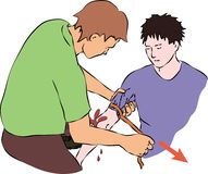 First help - stop blood flow with rubber band. Vector Stock Photography