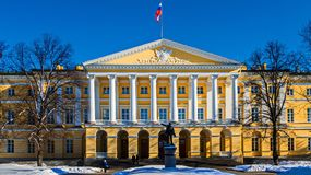 The first higher education institution for women in Europe. Smolny Institute of Giacomo Quarenghi in St Petersburg stock photo