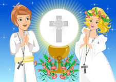First Holy Communion. Boy Girl in First Holy Communion Illustration Vector Royalty Free Stock Images