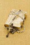 Holy Communion. First Holy Communion composition on beige sackcloth  background Stock Photography