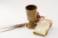 Holy Communion. First Holy Communion composition on white background Stock Photography