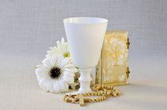 First Holy Communion. Composition on white background Royalty Free Stock Photography