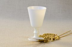 First Holy Communion. Composition on white background Stock Image