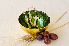 First Holy Communion. Composition on white background Stock Photography