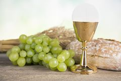 Eucharist symbol of bread and wine, chalice and host, First comm. First Holy Communion,Eucharist symbol royalty free stock photography