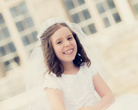 First Holy Communion Girl Stock Photo