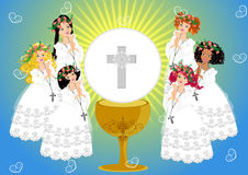 First Holy Communion. Girl in First Holy Communion Illustration Vector Royalty Free Stock Images