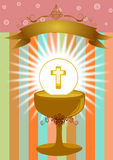 First Holy Communion. Girl in First Holy Communion Illustration Vector Stock Image
