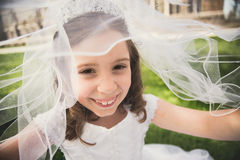 First Holy Communion Girl with Veil Stock Photos