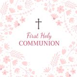 First holy communion greeting card design template royalty free stock photo