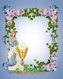 First Holy Communion Invitation. Image and illustration composition for First Holy Communion Invitation blue  Border or frame with gold chalice and angel. Gold Stock Image