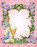 First Holy Communion Invitation. Image and illustration composition for First Holy Communion Invitation pink Border or frame with gold chalice and angel. Gold Stock Images