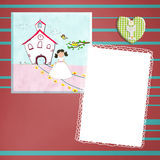 First Holy Communion invitation brown girl Stock Image