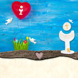 First Holy Communion invitation card. Chalice, doves and balloon on blue wooden table , copy space to write text stock images