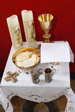 First holy communion. Various utensils at the first holy communion Stock Photos