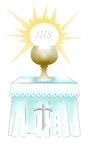 First Holy comunion altar vector illustration