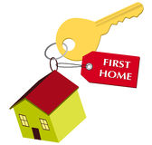 First home. A illustration of home with key symbol Stock Image
