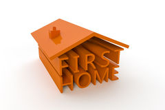 First Home. A 3d illustration with the words First Home formed into a house shape Royalty Free Stock Image