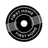First Home rubber stamp. Grunge design with dust scratches. Effects can be easily removed for a clean, crisp look. Color is easily changed Stock Image