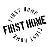 First Home rubber stamp. Grunge design with dust scratches. Effects can be easily removed for a clean, crisp look. Color is easily changed Royalty Free Stock Image