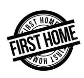 First Home rubber stamp. Grunge design with dust scratches. Effects can be easily removed for a clean, crisp look. Color is easily changed Royalty Free Stock Photo