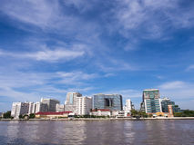 The first hospital in Thailand under blue sky. Siriraj hospital, the first and major hospital and medical school in Thailand, landmark view in Bangkok, under Stock Images