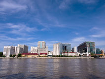 The first hospital in Thailand under blue sky. Siriraj hospital, the first and major hospital and medical school in Thailand, landmark view in Bangkok, under Royalty Free Stock Photo