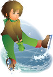 First ice. This illustration depicts a boy fallen down on ice Royalty Free Stock Photography