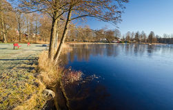 First ice on the lake Royalty Free Stock Image