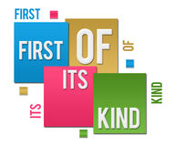 First Of Its Kind Colorful Squares Text. First of its kind text written over colorful background Stock Images