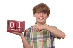 First of january. Young boy reminds of first of january Stock Photos
