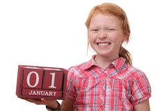 First of january. Young girl reminds of first of january stock photos