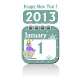 First of January. Calendar sheet for the first of January 2013. New Year concept Stock Image