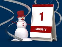 First january calendar. With snowman on blue background Royalty Free Stock Image
