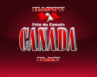 First of July, Canada day celebration. Holiday design, background with 3d texts, maple leaf and national flag colors, for first of July, Canada National day Royalty Free Stock Images