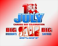 First July, Canada day, sales, commercial events. Holiday design, background with 3d texts, maple leaf and national flag colors, for First of July, Canada Stock Images
