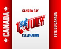 First of July, Canadian national holiday, celebration. Holiday design, background with 3d texts, maple leaf and national flag colors, for First of July, Canada Royalty Free Stock Photo