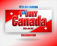 First July, Canadian national holiday, celebration. Holiday design, background with 3d texts, maple leaf and national flag colors, for First of July, Canada Royalty Free Stock Images