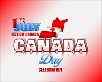 First July, Canadian national holiday. Holiday design, background with 3d texts, maple leaf and national flag colors, for First of July, Canada National day Royalty Free Stock Images