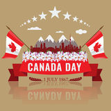 First July Happy Canada day with Canadian waving flag Stock Photography