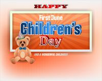 First of June, Children`s day, celebration. Design, background with 3d texts, teddy bear wearing bow tie for Children`s day, event, celebration; Vector Stock Images