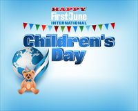 First of June, International Children`s day celebration. Design, background with 3d texts, teddy bear on Earth globe backdrop for first of June, International Royalty Free Stock Photo