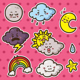 First kawaii set of weather icons. Collection of cute kawaii vector weather icons Stock Photo
